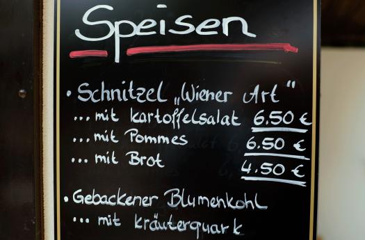 Speisekarte im Zittau
